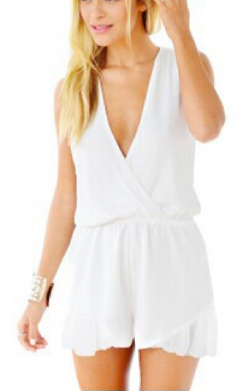 White V-neck Sleeveless Falbala Cuff Chiffon Jumpsuit
