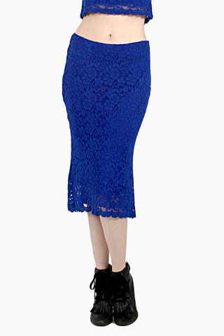 Blue lace midi skirt
