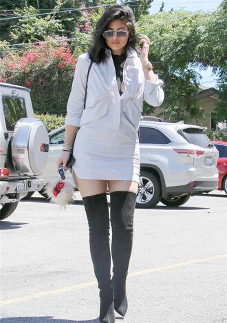 dress shirt dress kylie jenner boots knee high boots sunglasses shoes