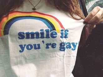 shirt t-shirt tumblr tumblr shirt girl white rainbow grunge grunge t-shirt white t-shirt lgbt gay pride gay shirts aesthetic aesthetic tumblr aesthetic grunge tumblr aesthetic pale aesthetic aesthetic shirt smile smile at your haters smile if you're gay