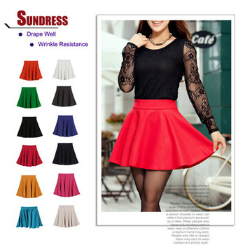 New Skater Stretch Waist Plain Flippy Flared Pleated Jersey Short Skirt Sundress-in Skirts from Apparel & Accessories on Aliexpress.com
