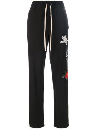 pants track pants women spandex embellished black