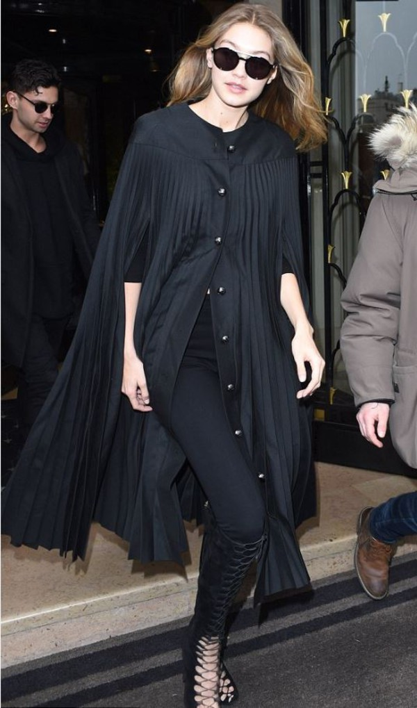 coat cape gigi hadid sandals lace up all black everything model off-duty paris fashion week 2016 streetstyle fashion week 2016 shoes booties