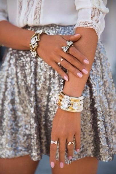 jewels bracelets pretty beautiful shirt statement bracelet skirt grey sequins sequins grey silver palliets nice cute sweet