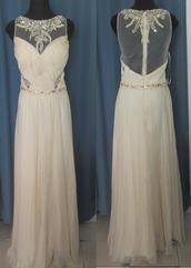 dress,beaded,bodice,chiffon,white prom dress