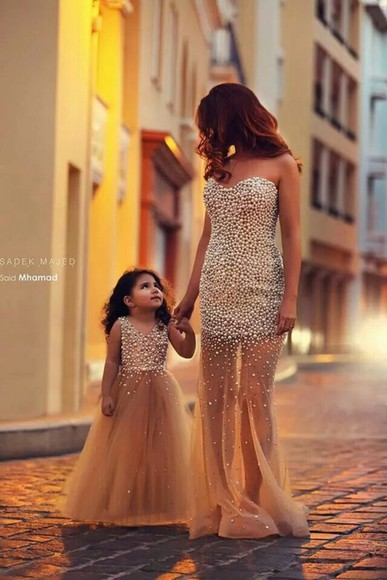 princess prom dress girls dress girls pageant dress mother and daughter mother daughter gold dress evening dress flower girl dresses Girls Prom Dress pearls dress