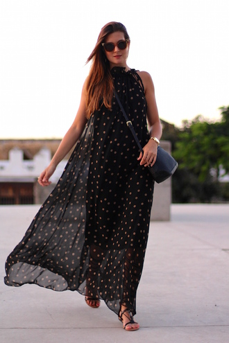 marilyn's closet blog blogger polka dots chiffon dress maxi dress elegant