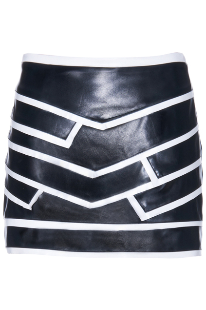 ROMWE | ROMWE White Line Embellished Vinyl Black Skirt, The Latest Street Fashion