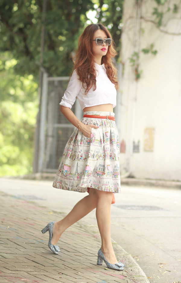 mellow mayo blogger top sunglasses skirt belt bag shoes jewels