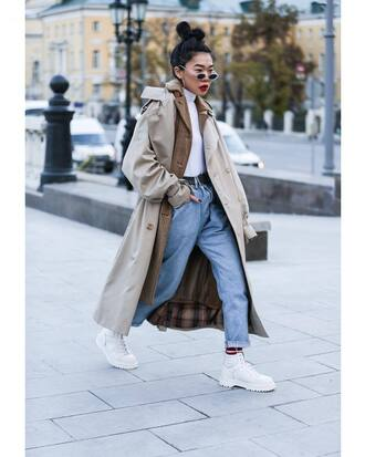 coat tumblr trench coat nude coat long coat denim jeans blue jeans boots white boots sunglasses turtleneck streetstyle