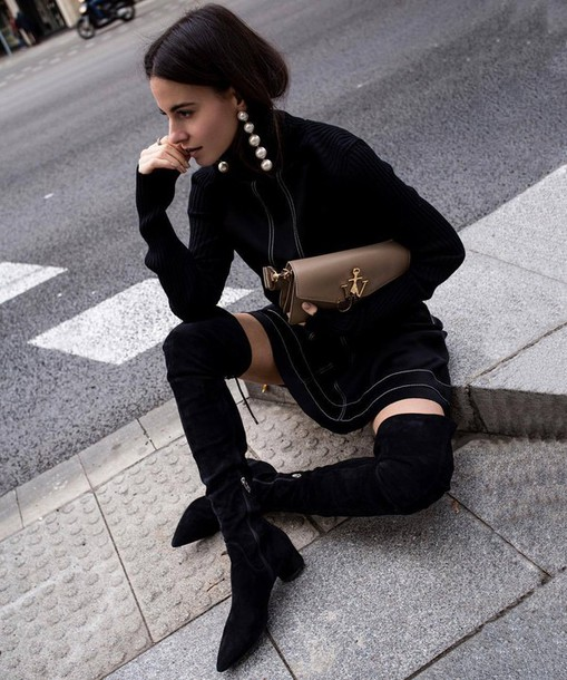 black sweater brown shoes
