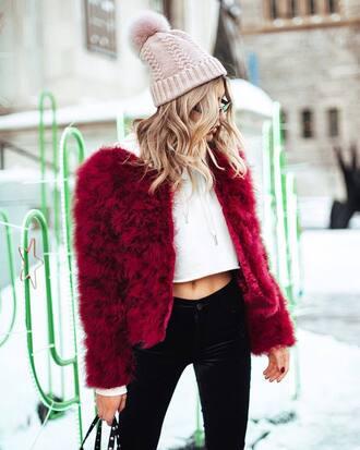 jacket tumblr red jacket fur jacket beanie pom pom beanie pink beanie top crop tops pants velvet