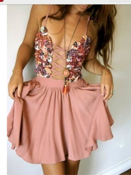 dress pink ribbon ribbon summer outfits lace lace u criss cross floaty dress tank top sexy stunning pink peach peach dress floral jewels