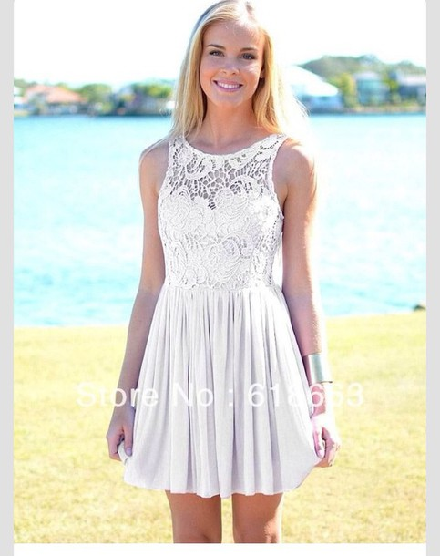 White Dress Lace Dress Short Dress Dress Semi Formal Pretty