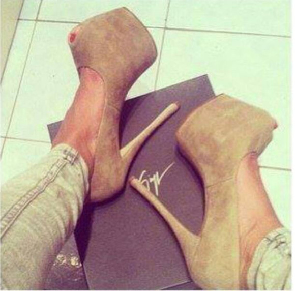 shoes high heels peep toe beige sexy tan