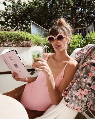 swimwear solid and striped pastel swimwear one piece swimsuit pink swimwear sunglasses round sunglasses