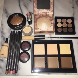 make-up mac cosmetics anastasia beverly hills gold highlighter lipstick concealer palette gold pink nude beautiful