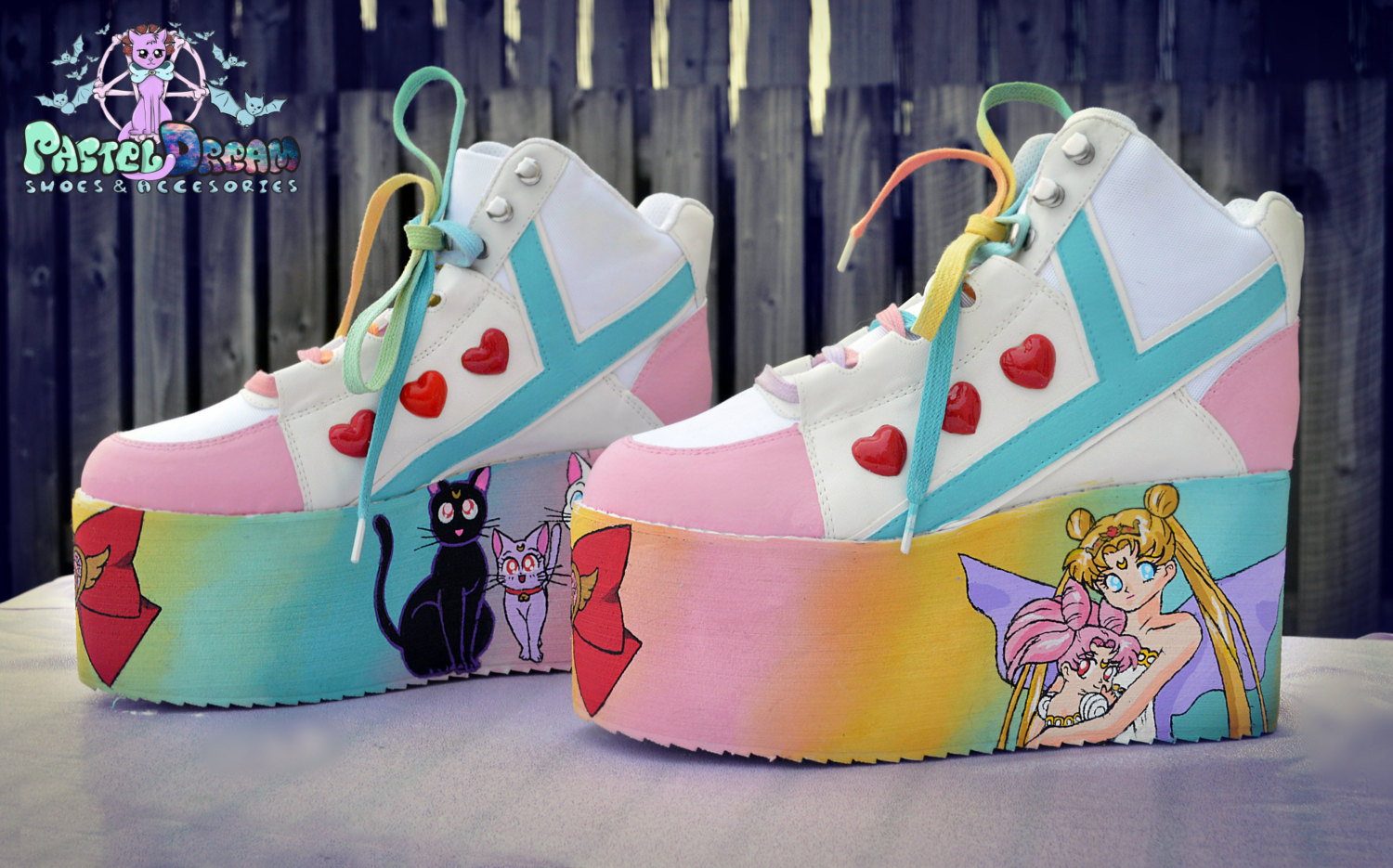 Hand painted sailor moon inspired platform flatform shoes ...