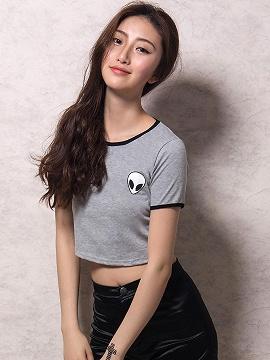 46782ce7dc2 Gray Alien Print Cropped Ringer T-shirt - Choies.com