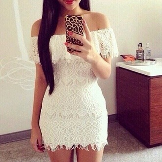 dress white short lace