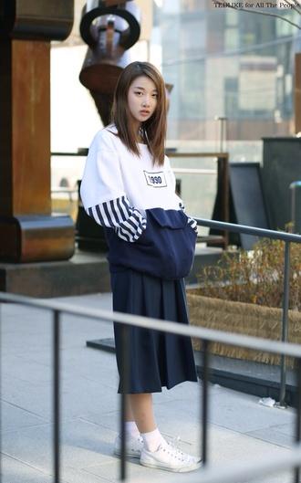 sweater blue white korean fashion seoul streetwear 1990 sweatshirt