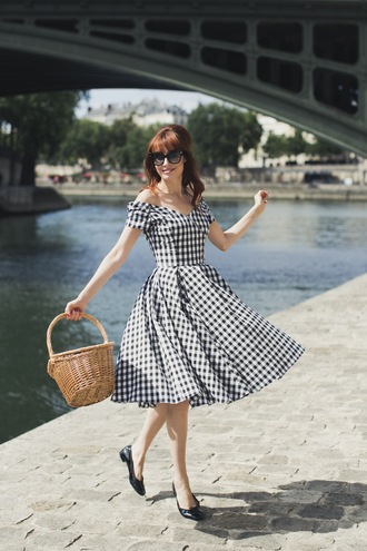 miss pandora blogger dress shoes sunglasses summer dress summer outfits basket bag ballet flats off the shoulder dress