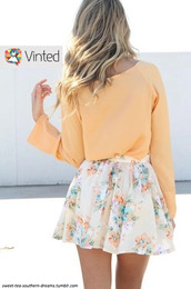 skirt,white,flowers,mini skirt,chiffon,chiffon skirt,blouse,floral,apricot,weheartit,cute,girly,sweet,summer,sundress,blonde hair,shirt,yellow top,yellow skirt,outfit,pastel,orange,peach blouse,floral skirt,light orange,spring,trendy,floral print skirt,pastel orange,feminine,spring outfits,top,colorful,floral shirt,floral pretty white orange flowers,pretty,blue,bright,long sleeves,summer outfits,polyvore,floral skater skirt,flare skirt,skater skirt,fashion,off-white,off white skirt,short skirt,flowy