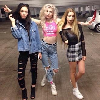 jeans black ripped denim denim jacket ripped jeans shirt friends skirt