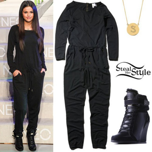 jumpsuit celebrity style gloves shoes