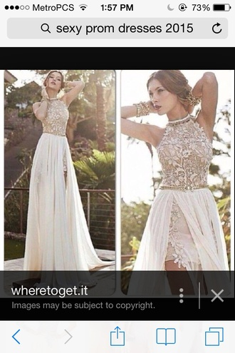 dress ivory-champagne color  lace   flowers with leg out and satin material
