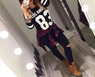 blouse jeans shirt flannel shirt players shirt black white outfit shoes tights sweater