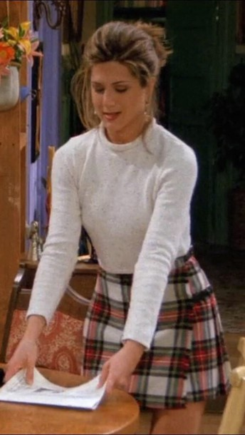 skirt rachel green socks jennifer aniston friends TV show plaid skirt cropped sweater pleated skirt knee high socks shirt grunge checkered rachel green from friends checkered skirt crop plaid top white top white friends blouse outfit shoes cute skirt cute outfits cute shirt long sleeve crop long sleeve crop top long sleeves crop tops sweater white sweater fuzzy sweater fashion whiter red square old school