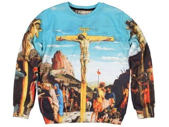 sweatshirt print printed sweater religious religion sky sweat the style sweater tumblr clothes tumblr outfit fashion streetwear streetstyle clothes style