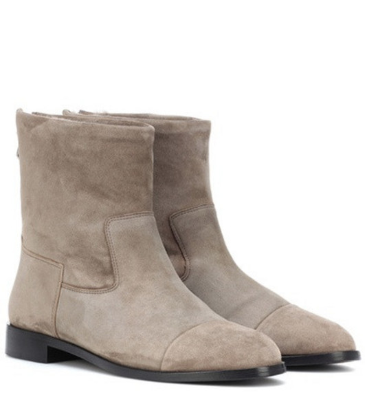 Bougeotte Suede and shearling ankle boots in grey