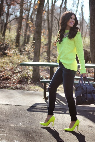sweater neon neon green statement necklace high heels ripped jeans fall outfits winter outfits