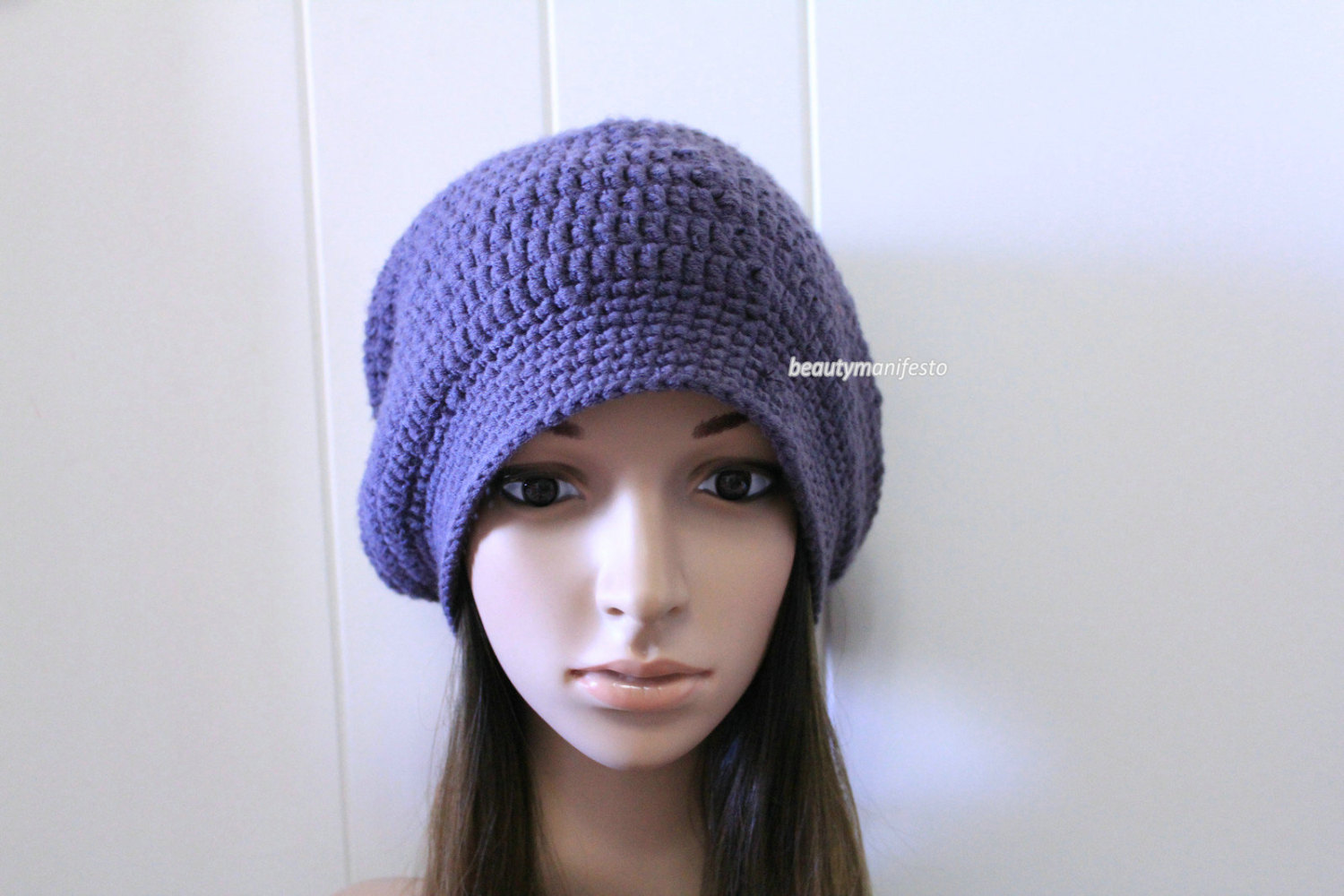 a2c2dcd3168 Hand Knit Hat - Slouchy Hat - Oversized Hat - Chunky Knit-Crochet Slouchy  Beanie Hat for Women and Men