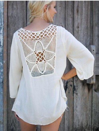 blouse cute girly girl girly wishlist white white top cute top crochet