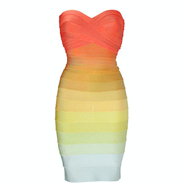 Becky Ombre Strapless Celebrity Color Block Bandage Dress - Rainbow