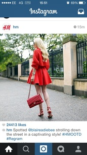 sweater,wool sweater,red,h&m,skirt,bag