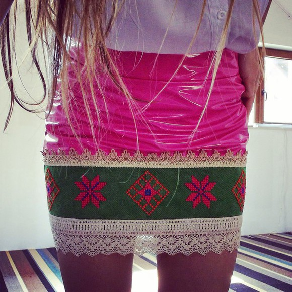 folk skirt traditional embroidery embroidered cross stitch leather skirt pink dress pink skirt boho chic boho bohemian dress bohemian chic bohemian fashion mini skirt luxury luxurious color block color blocking colorful etno tribal pattern hippie style luxury skirt wool skirt beyoncé siammose