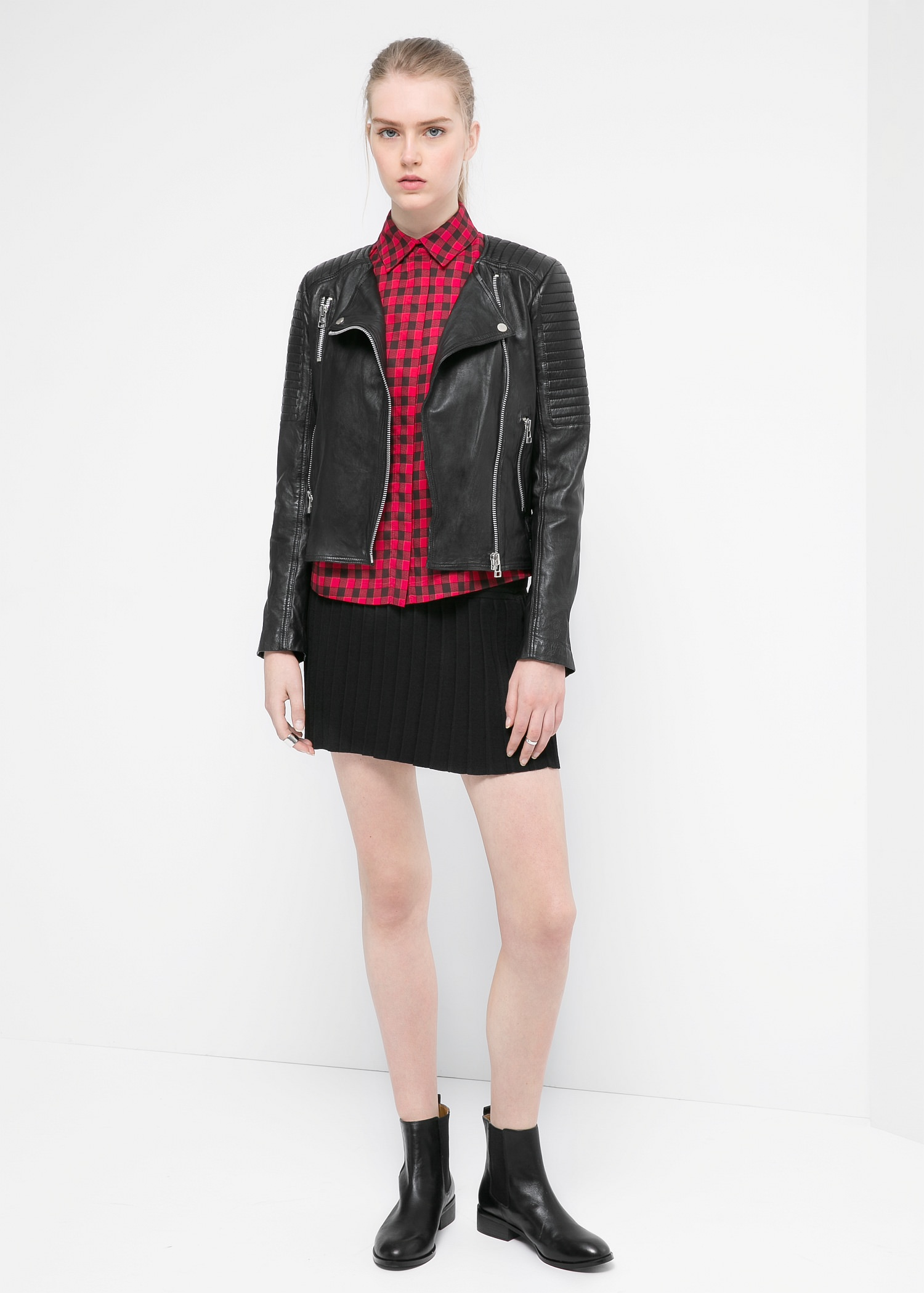 Quilted leather jacket - Jackets for Women | MANGO