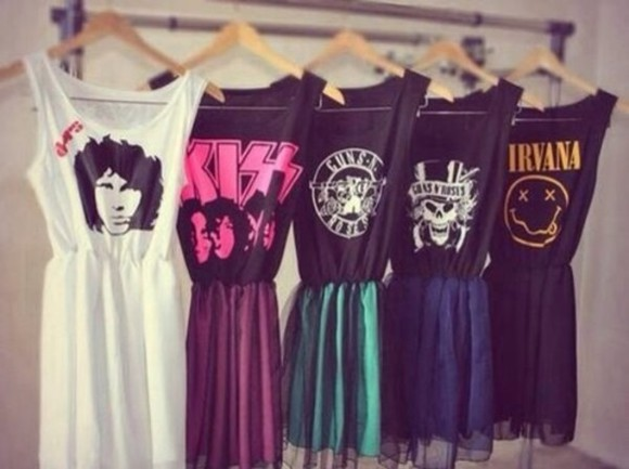 cute cartoon dress pink yellow band kiss nirvana the doors doors band t-shirt boy bands guns and roses guns roses