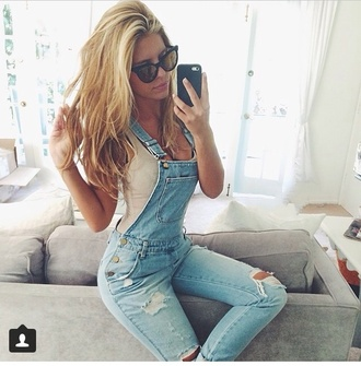 white top jeans jumpsuit overalls denim