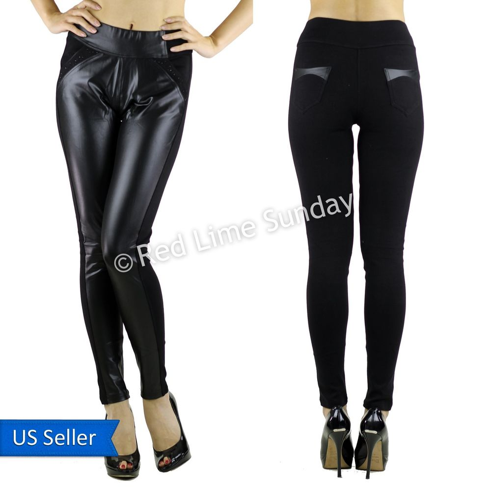 New Black Duo Fabric Faux Leather Panel Stretchy Leggings w Studs Tights Pants