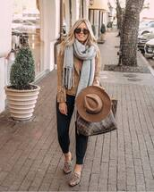 hat,felt hat,handbag,mules,joggers,jacket,suede jacket,scarf,knitted scarf,aviator sunglasses