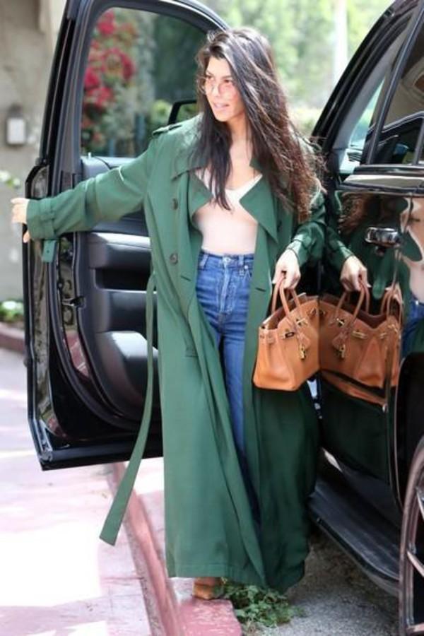 coat duster coat jeans kourtney kardashian top streetstyle kardashians