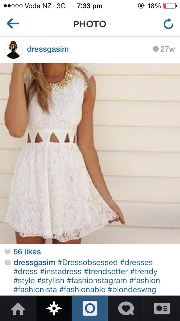 dress lace dress white dress white lace dress cute pretty waisted dress