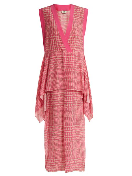 Fendi dress print silk pink