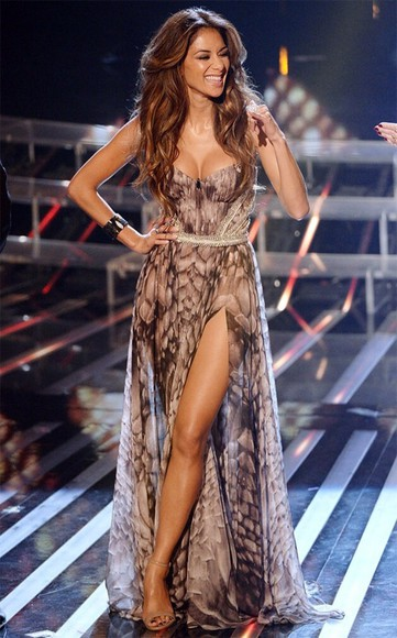 snake print dress nicole scherzinger x factor maxi dress slit skirt