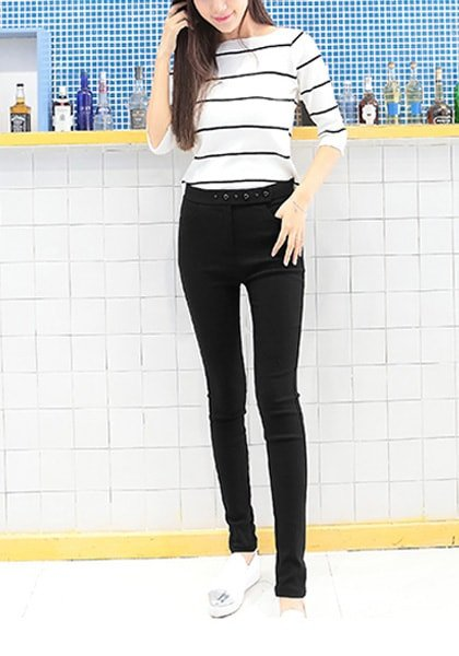 Black Button-Front Skinny Pants